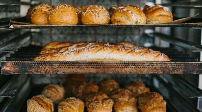 Fresh bread in a bakery