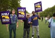 Members of the SEIU demonstrated against Paul Ryan on Thursday.
